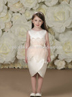 Ivory/multi Layered Organza Petals Midriff with Side Three-dimensional Hand-beaded Satin Flower Tulip-shaped Flower Girl Dress
