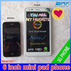 OEM mini pad 9977 MTK 6577 Cell Phone 3G Smartphone WIFI GPS 8MP Camera 6''Touchscreen WCDMA Android Phone