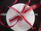 organza ribbon with satin in the edge with gold strips
