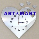 Mirrored Heart Clock with Cut out Hearts AM082