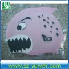 Pink Shark Shaped High Grade Silicone Swimming Caps to protect hair for Kids