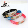 Silicon rubber bracelet epoxy bracelet with embossing words with stainless steel button HJ-EB011