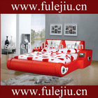 double bed with genuine leather