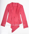 women faux suede jacket pointed lapel with pintucks