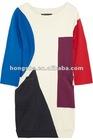 Constructivist color-block cotton dress HGS708