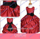 Custom Made Scoop Neck Sleeveless Satin Ball Gown Wedding Flower Girls Dress Cute Dresses For Girls