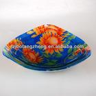 3 pcs triangle decal glass bowl set