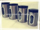 4 Pcs Round stainless steel canister set with window