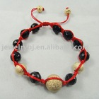 Faceted agate and gold metal beads with red cords shamballa bracelet, Hot selling