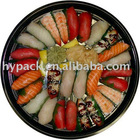 round plastic meat/fruit/sushi packaging tray