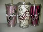 BPA FREE 24oz Plastic Tumbler Travel Mug Straw Cup for bar promotion