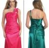 Newest Designing One Shoulder Satin Green Fashion Lady Dress