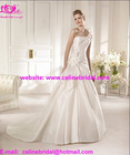 2013 New Arrival A-Line Satin One Flower Shoulder Wedding Bridal Gowns