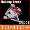 20 PCS Makeup Cosmetic Brush Brushes Set + Pink Leather Case