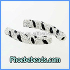 New Arrival Shamballa Tube Beads Pave Crystal Rhinestone Zebra Stripe Curve Connector Big Hole CTB-024