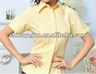 yellow color short sleeve summer office woman shirt,lady wear,design for formal blouses,blouse,womens clothing,ladies office wea