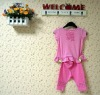 baby clothing sets:pink short sleeve top with short pants