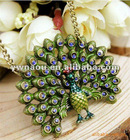 occident fashion Peacock necklace jewelry Vintage sweater necklace pendant