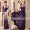 Coniefox Wholesale Classic Collared Dark Purple Evening Dress 81255