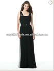 2012 latest style sleeveless black chiffon bridesmaid dress CBB10159