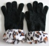 fur chenille glove/fur trim glove