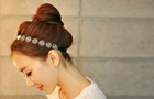 Hot Lovely Metallic Lady Hollow Rose Flower Elastic Hair Band Headband