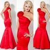 BE152 Newest one shoulder red satin mermaid evening dresses 2013/designer prom dress