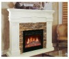 Fire fireplace made by white marble
