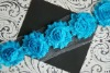 Teal Chiffon Flower Shabby Trim
