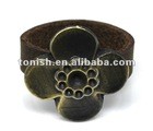 Flower ring braided leather and copper made Q1