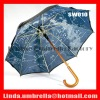 "[SW010] 23""x8K, Wooden shaft umbrella,wooden handle umbrella,double layer umbrella"