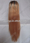 Customzied Two Tone color T2/27 24inch Silky Straight Brazilian Virgin Hair blonde Full Lace Wig paypal acceptable