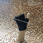 plain black acrylic knitted gloves with no fingers
