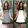 OL simple and elegant style lace edges V-Neck Dress