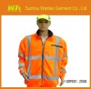 100% polyester Men's breathable safety reflective orange fleece jacket