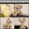 Gold Crystal Bear Anti Dust Dust-proof Earphone Ear Plug for iphone HTC 3.5mm, YAP322A