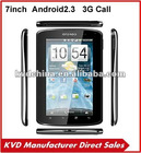 "7"" Android 2.3 3g sim card slot tablet MTK6573 dual core Dual camera GPS"