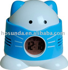 plastic fragrant cat clock with beautiful backlight and multifunction