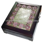 Wooden Jewelry Box / Photo Frame with Pewter Decoration