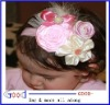 Pink Ivory Feather Pearl Triple Flowers baby Headband Photo