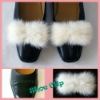 Real White Mink Fur Big Bow Shoe Clips Wedding Bridal Ornaments
