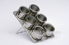 7 pcs Magnetic Stainless steel spice jar with Stainless iron rack and SS lid with Transparent PET