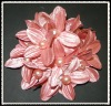 peach satin handmade shoe flower with pearls for decoration