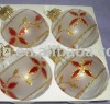 paited flowers glass christmas ball with LED light