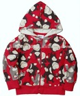 A2962#Fuchsia Baby boy monkey printed fleece hoody
