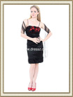 Pretty Stunning Spaghetti Strap Empire Waist Knee Length Satin Black Dress For Graduation