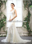 Hot Sale 100% Hand Made Sleeveless Sheathy Mermaid Lace Wedding Gown