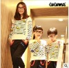 New Autumn clothes---Sugar ducks Thin stripe long sleeve sweater for Mother and daughters 5247