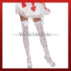 Opaque Thigh Highs With Heart Print And Ruffle Top With Satin Bow