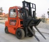 Forklift with Hinged Forks